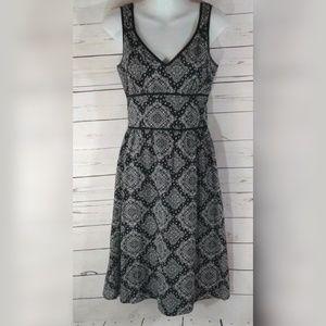 Ann Taylor Blue Paisley Dress Lined A-line Size 0